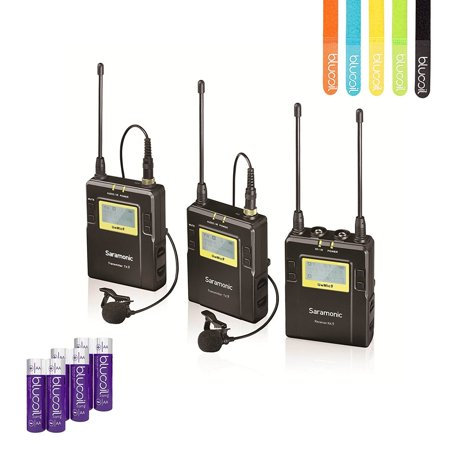 Saramonic UWMIC9 (RX9+TX9+TX9) 96-Channel Digital UHF Wireless Lavalier Microphone System with 2 Bodypack Transmitters Portable Receiver –INCLUDES– 6 Blucoil AA Batteries AND 5 Pack of Cable Ties
