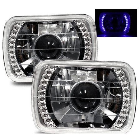 1979-1983 Ford E-100 Econoline 7X6 H6014/H6052/H6054 Chrome Crystal Square Projector Headlights - Blue LED Ring