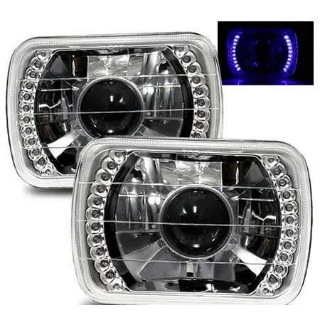 1988-1999 Chevy C1500 k1500 k2500 C2500 k3500 7X6 H6014/H6052/H6054 Chrome Crystal Square Projector Headlights - Blue LED Ring