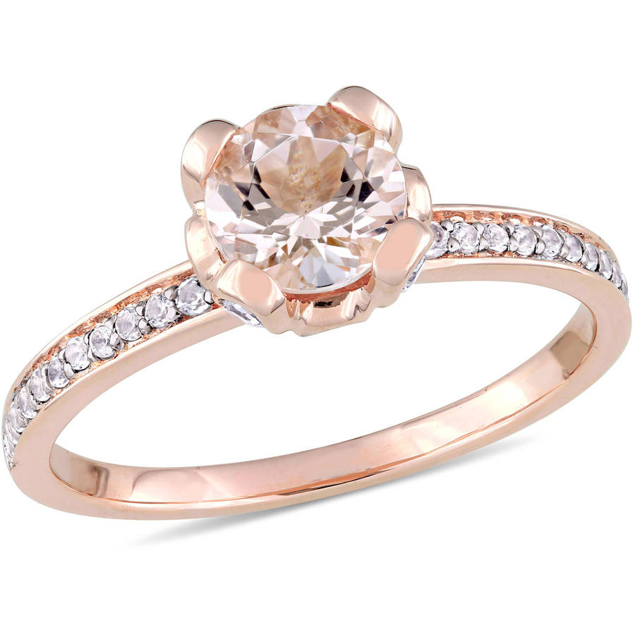 Tangelo 1 Carat T.G.W. Morganite and White Topaz 10kt Rose Gold Engagement Ring by Tangelo