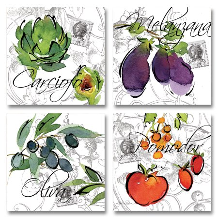 Alfesca Italia; Fun, Colorful Tomatoes, Egglplant, Artichoke and OLives; Kitchen Decor; Four 12x12 Poster Prints ()