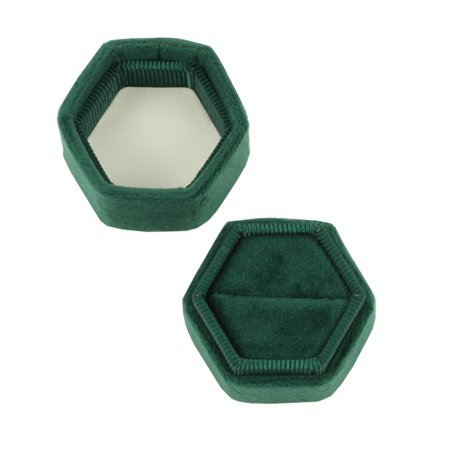 DIY Wedding Koyal Wholesale Velvet Ring Box, Emerald Green, Hexagon Vintage Wedding Ceremony Ring Box with Detachable Lid, 2 Piece](Greek Wholesale)