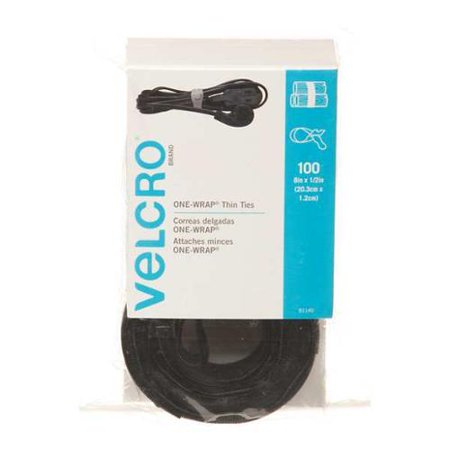"VELCRO BRAND 1/2"" W x 8"" L Hook-and-Loop Black One-Wrap Thin Strap, 100 pk., 91140"