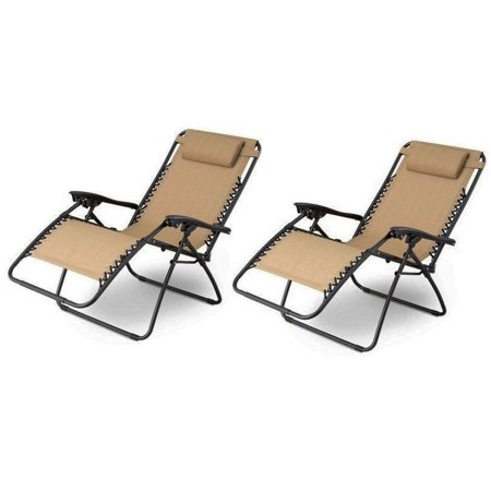 GHP Pack of 2 PVC Mesh Fabric Seats Tan Zero Gravity Patio Recliner Lounge  Chairs - GHP Pack Of 2 PVC Mesh Fabric Seats Tan Zero Gravity Patio Recliner