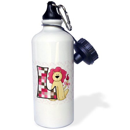 3dRose L is for Lion in Pink for Girls Baby and Kids Monogram L in Patchwork Prints, Sports Water Bottle, 21oz - Monogrammed Water Bottle