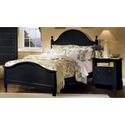 Panel Bed w Nightstand in Black Finish (Full)