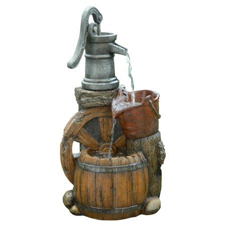 Alpine Old Fashion Pump Barrel Outdoor Fountain, 24 Inch Tall