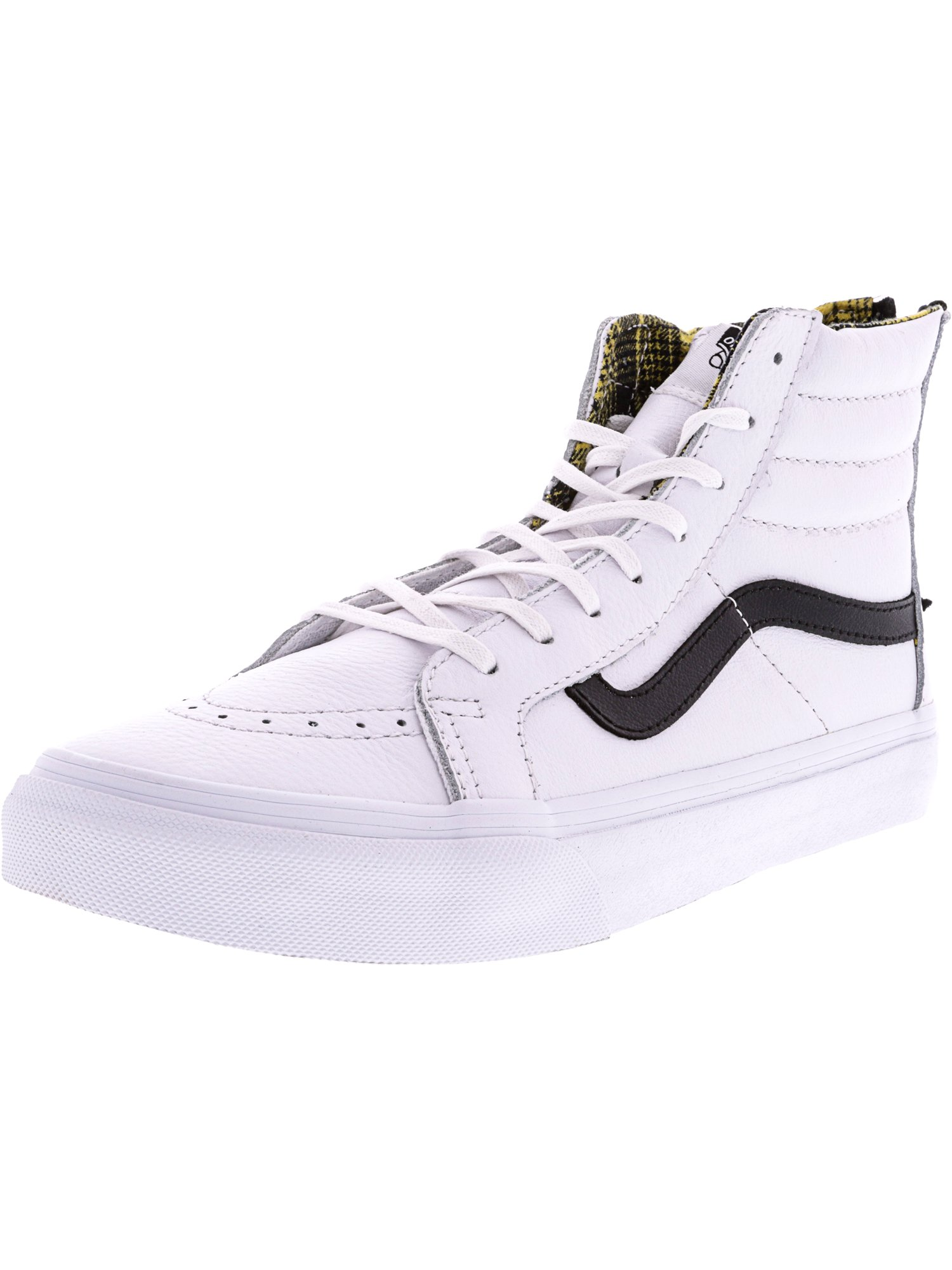1c8b9ed0e46b Vans Sk8-Hi Slim Zip Plaid Flannel True White   Black High-Top Leather  Skateboarding Shoe - 9.5M 8M - Walmart.com