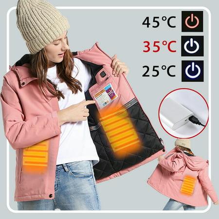 Grtsunsea 3 Modes Intelligent Adjustable Temperature Heating Keep Warm Woman Pink Electronic Jacket USB Hooded Waterproof Hooded