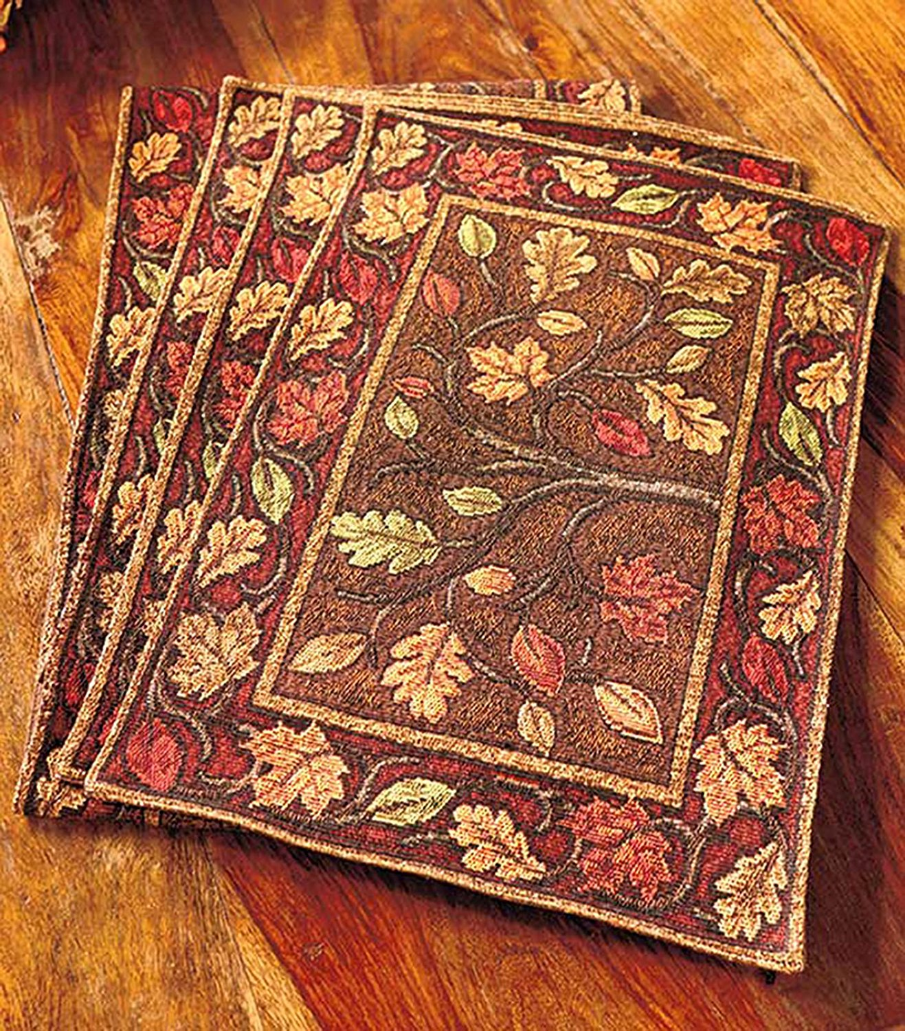 Harvest Leaves Tapestry Placemats, Set Of 4, Dancing Leaves Design Accents  Your Table With Autumn Colors By ABC   Walmart.com