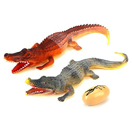 Animal Kingdom Crocodile Lizard Toy Dinosaur Figures w/ Toy Egg, Highly Detailed Textured Body (Colors May Vary) - Dino Egg