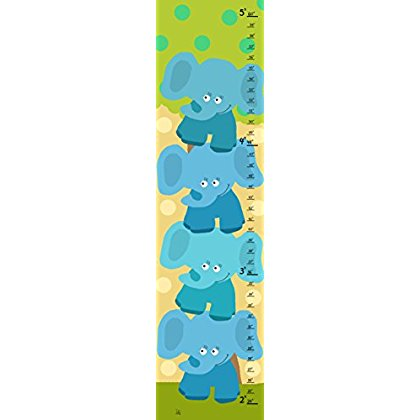 Green Leaf Art Stacked Elephants Growth Chart