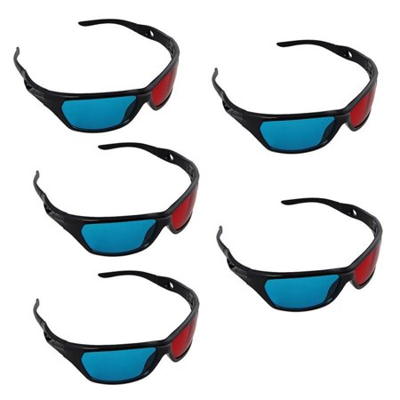 5 Pack Black Frame Red Blue 3D Glasses For Dimensional Anaglyph Movie Game - Diy 3d Glasses