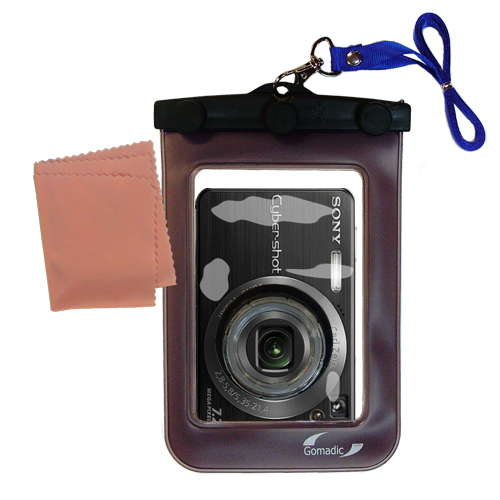 Gomadic Waterproof Camera Protective Bag suitable for the Sony Cyber-shot DSC-W120 - Unique Floating Design Keeps Camera Clean and Dry