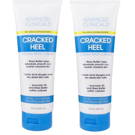 Advanced Clinicals Cracked Heel Cream for dry feet, rough spots, and calluses. (Two -