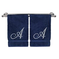 Monogrammed Hand Towel, Personalized Gift, 16 x 30 Inches - Set of 2 - Silver Embroidered Towel - Extra Absorbent 100% Turkish Cotton- Soft Terry Finish - For Bathroom, Kitchen and Spa- Script A Navy
