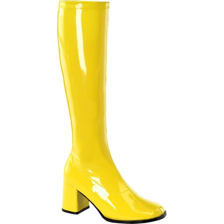 Womens Yellow Go Go Boots 3 Inch Block Heel Knee Boots Stretch Costumes Shoes
