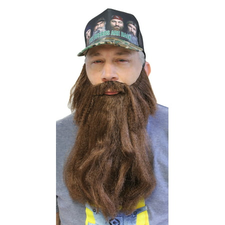 Extra Long Fake Brown Beard w/ Mustache (One Size Fits All) - Realistic Fake Beard