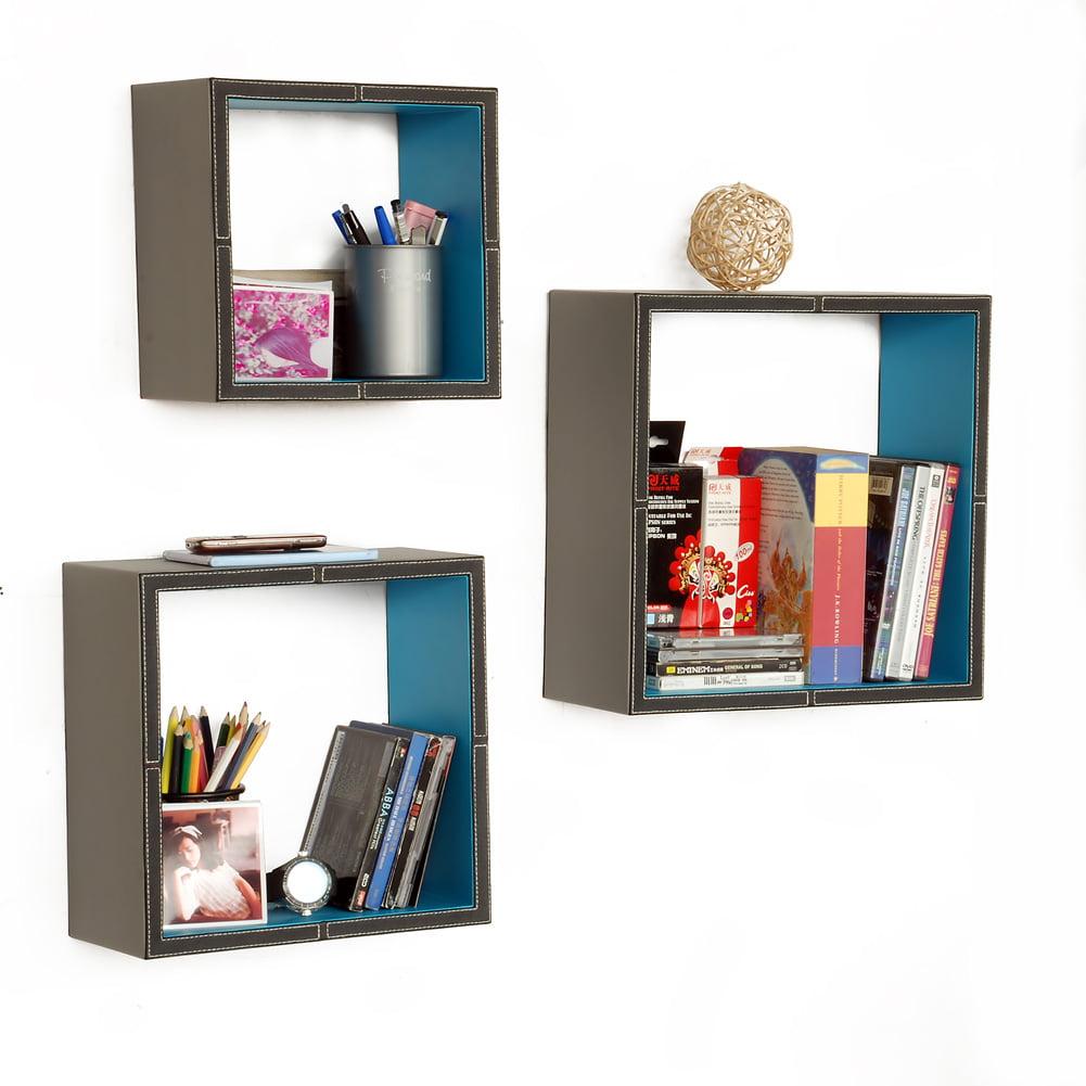 [Silence Speaks]Square Leather Wall Shelf / Bookshelf / Floating Shelf(Set of 3)