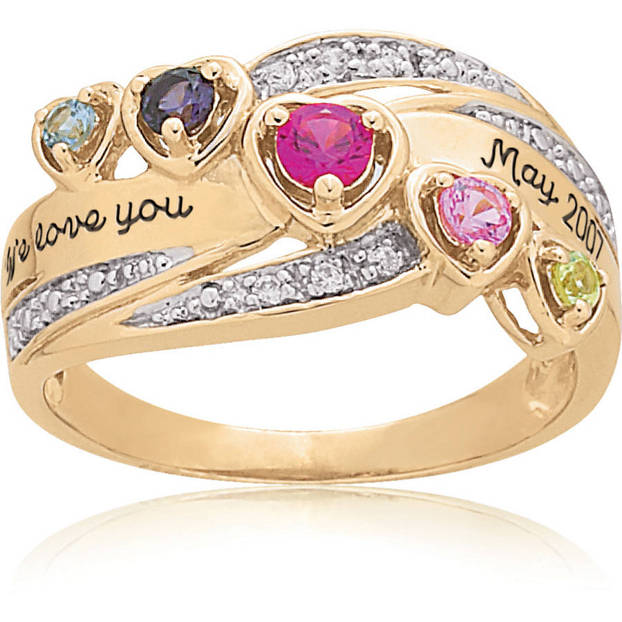 Keepsake Personalized Heart's Journey Birthstone Mother's Ring