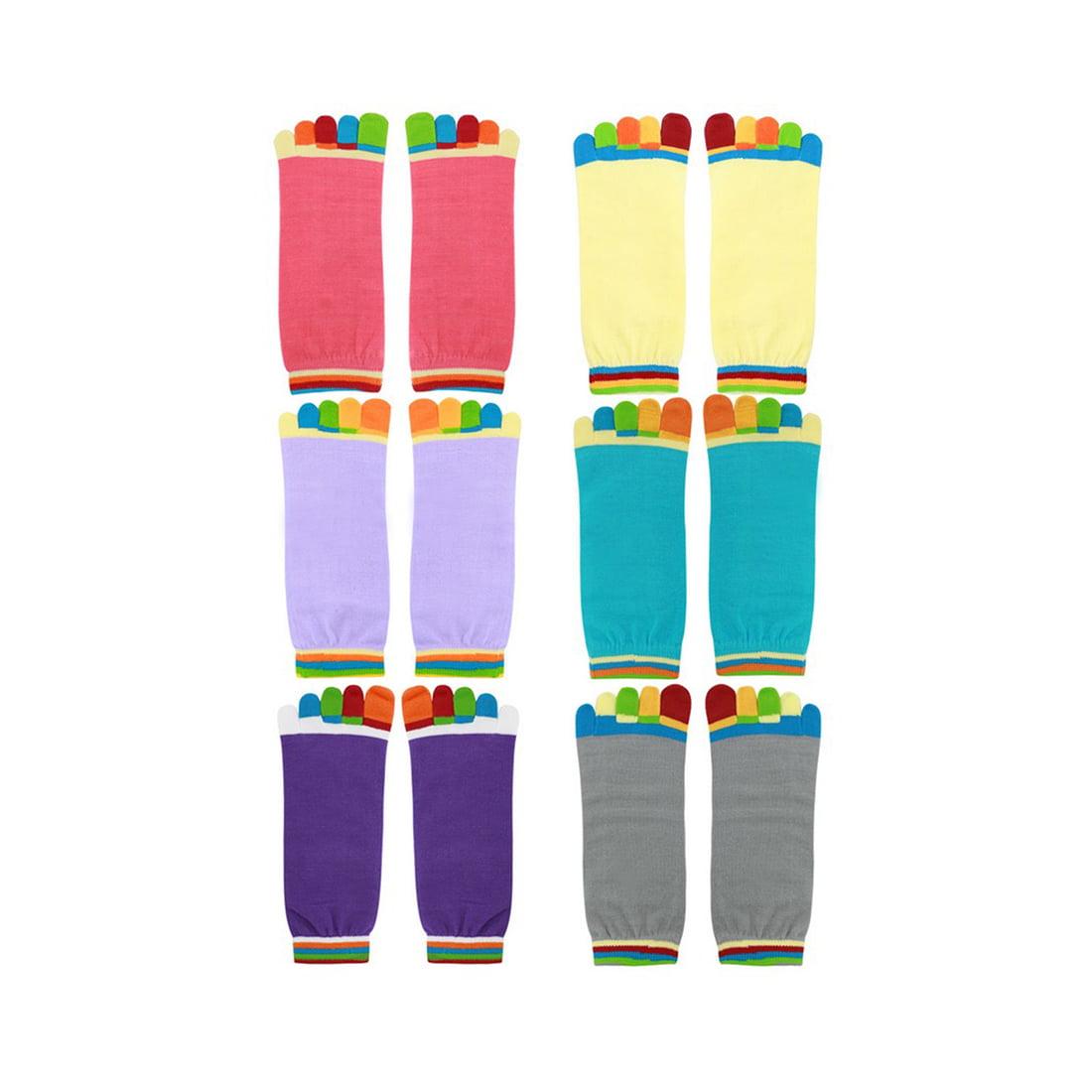 Tasharina Women's Nonslip Grips Contrast Color Toe Socks 6 Pairs Assorted Color