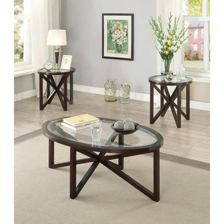 Coaster Furniture 3 Piece Glass Top Coffee Table Set - (Coaster Furniture 3 Piece Table)