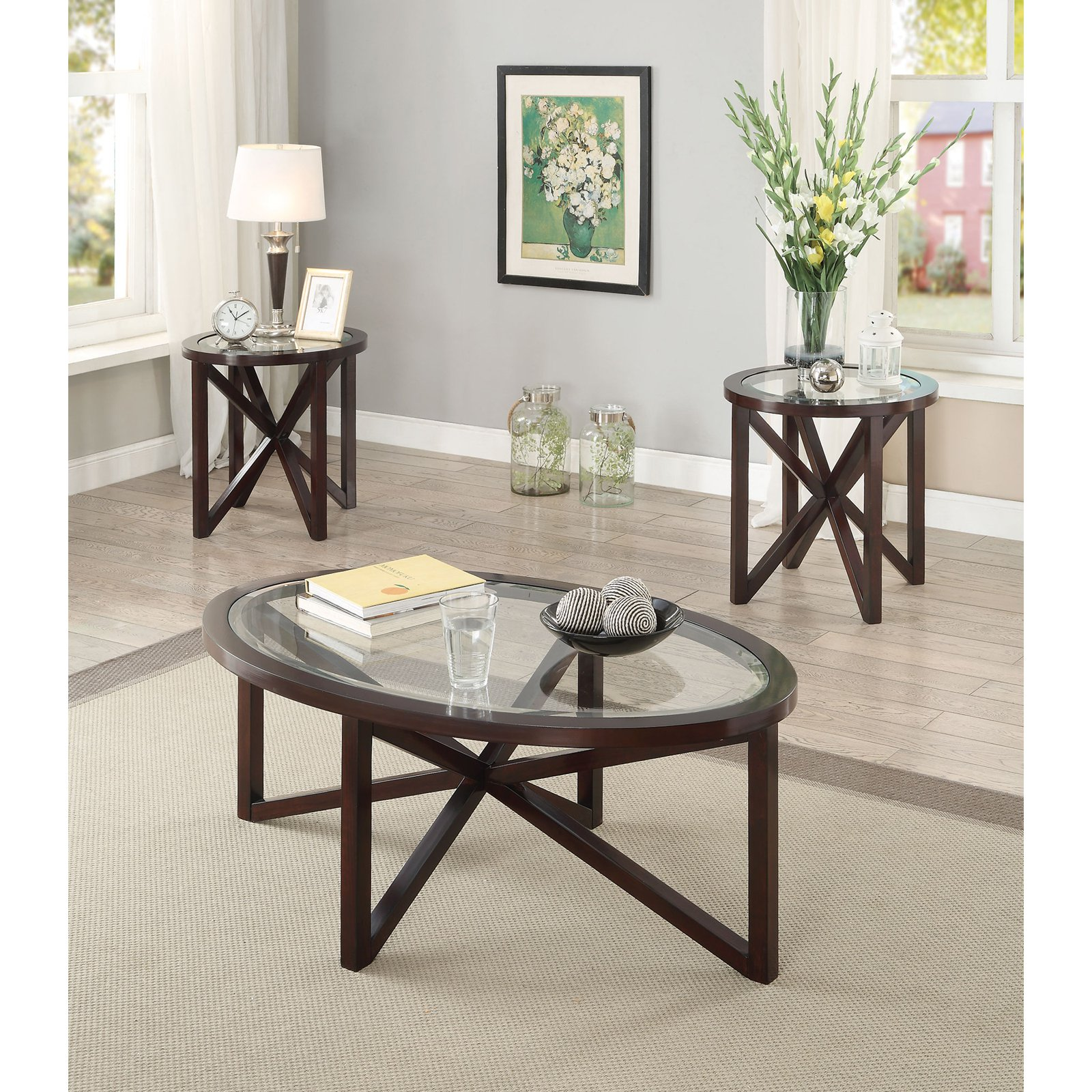 Coaster Furniture 3 Piece Glass Top Coffee Table Set - Brown