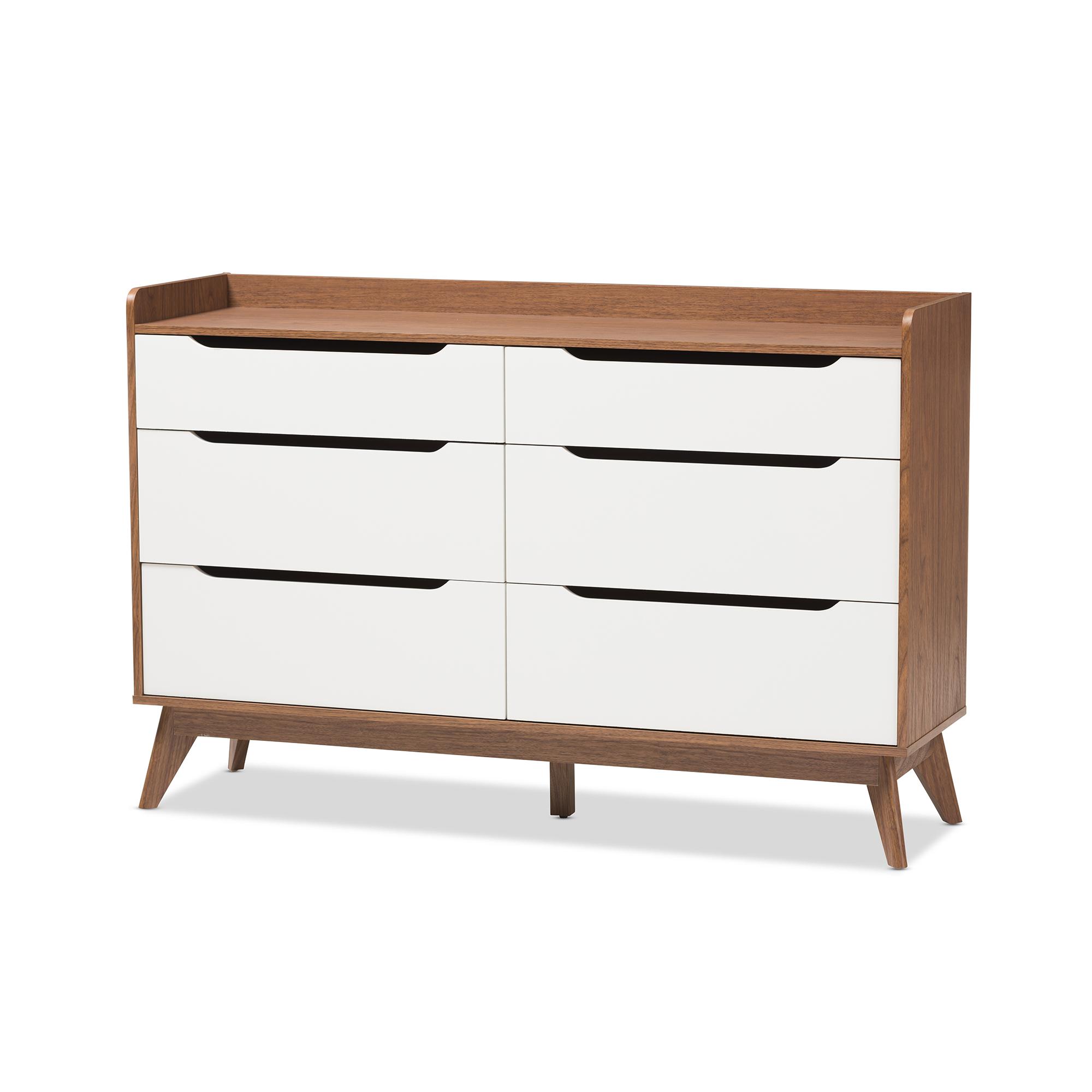 Baxton Studio Brighton Modern White and Walnut Wood 6-Drawer Storage Dresser