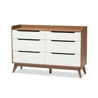 Baxton Studio Brighton White and Walnut Wood 6-Drawer Storage Dresser