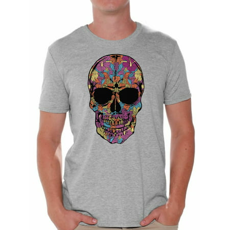 Male Sugar Skull (Awkward Styles Black Flowered Skull T-shirt Top skull shirts womens mens day of the dead costume t shirt dia de Los Muertos costume t shirt sugar skull candy skull costume)