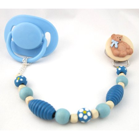 Wooden Teddy Bear Pacifier Clip with Wooden Beads