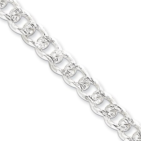 Turquoise Silver Mens Bracelets - Men's 7.5mm, Sterling Silver Solid Pave Curb Chain Bracelet, 8 Inch