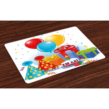 Birthday Placemats Set of 4 Multicolor Slice of Strawberry Pie Party Set Up with Hats Balloons Presents Stars, Washable Fabric Place Mats for Dining Room Kitchen Table Decor,Multicolor, by Ambesonne - Candy Table Setup