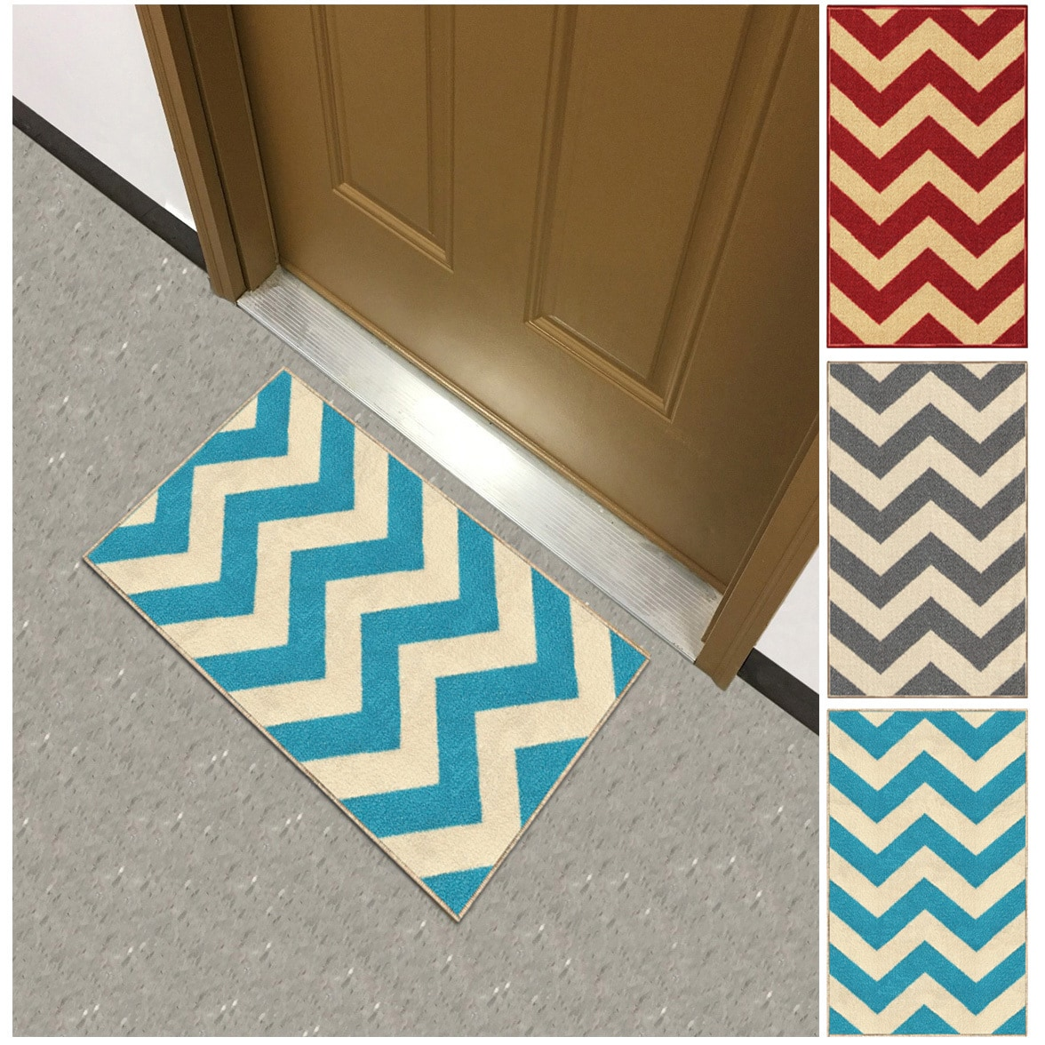 Kapaqua Chevron Zig Zag Non-slip Rubber Backed Doormat Accent Rug (1'6 x 2'7) by Overstock
