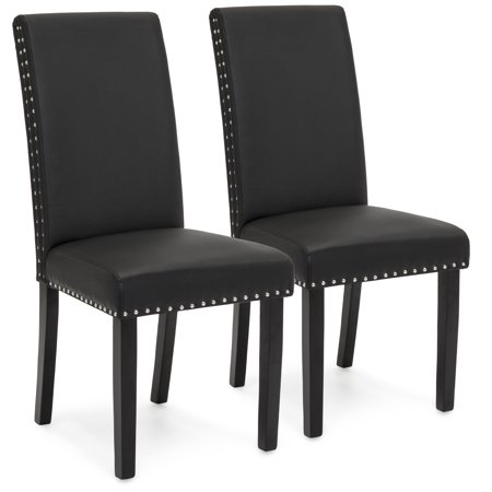 Best Choice Products Faux Leather Upholstered Nail Head Studded Parsons Dining Chairs, Set of 2, Black Black Leather Dining Room Chairs