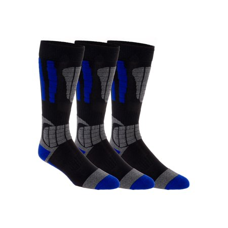 (3 Pack LISH Men's Cold Weather Ski Over The Calf Thermal Padded Snow Socks)