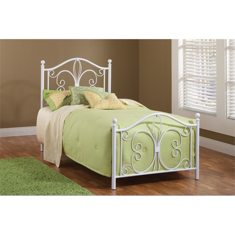 Hillsdale Ruby Twin Poster Bed in Textured White by Hillsdale