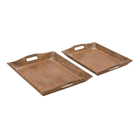 "Decmode - Traditional Whitewashed Natural Mango Wood Serving Trays, Set of 2: 18"" x 14"", 17"" x 12"""