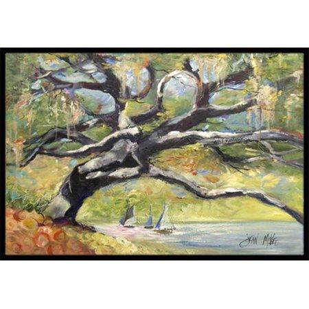 Carolines Treasures JMK1132MAT Oak Tree On The Bay With Sailboats Indoor & Outdoor Mat, 18 x 27 in. - image 1 of 1