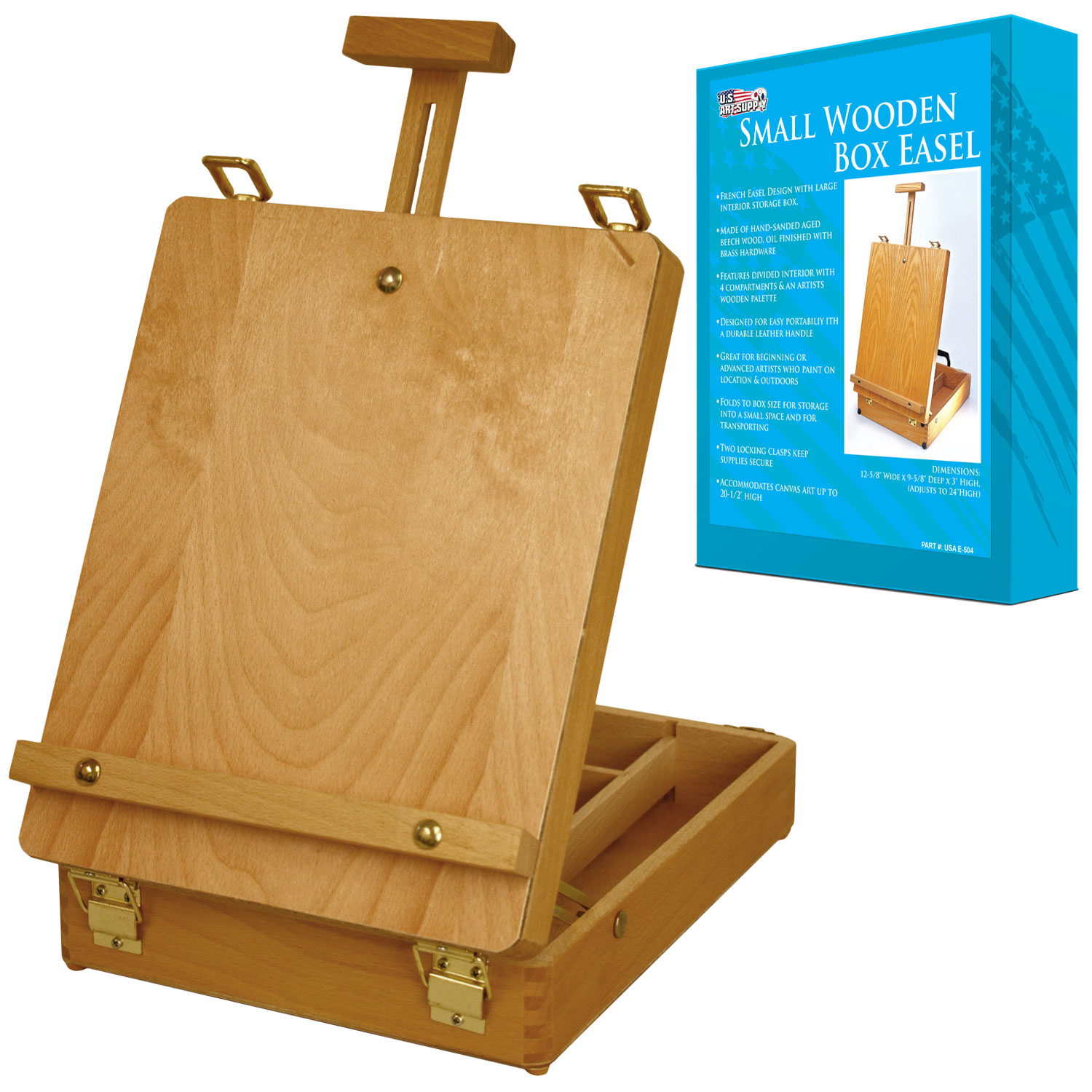 US Art Supply Newport Small Adjustable Wood Table Sketchbox Easel Desktop Artist