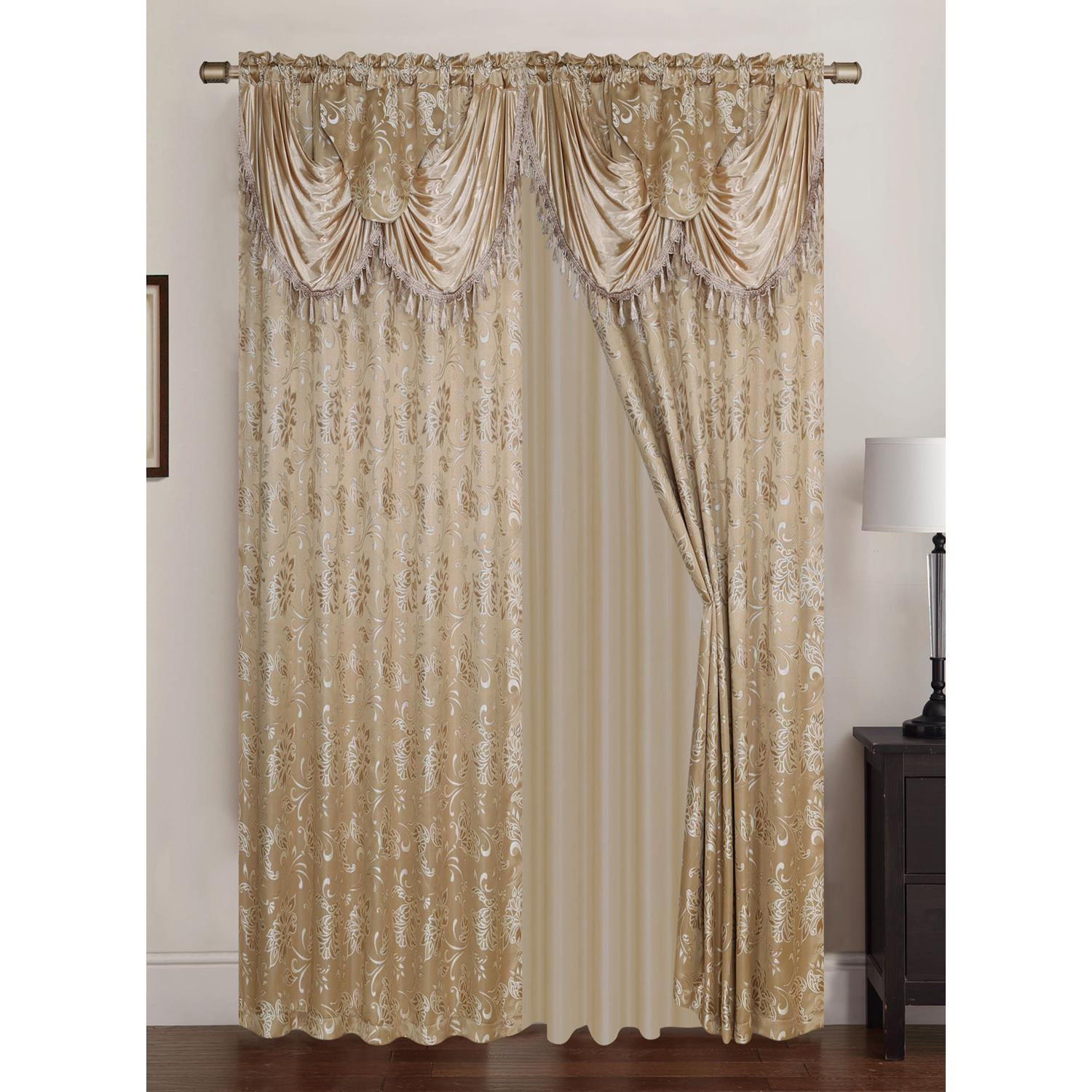 Clayton Jacquard 108 x 84 in. Double Rod Pocket Curtain Panel Pair w/ Attached 18 in. Valance, Taupe (Set of 2)