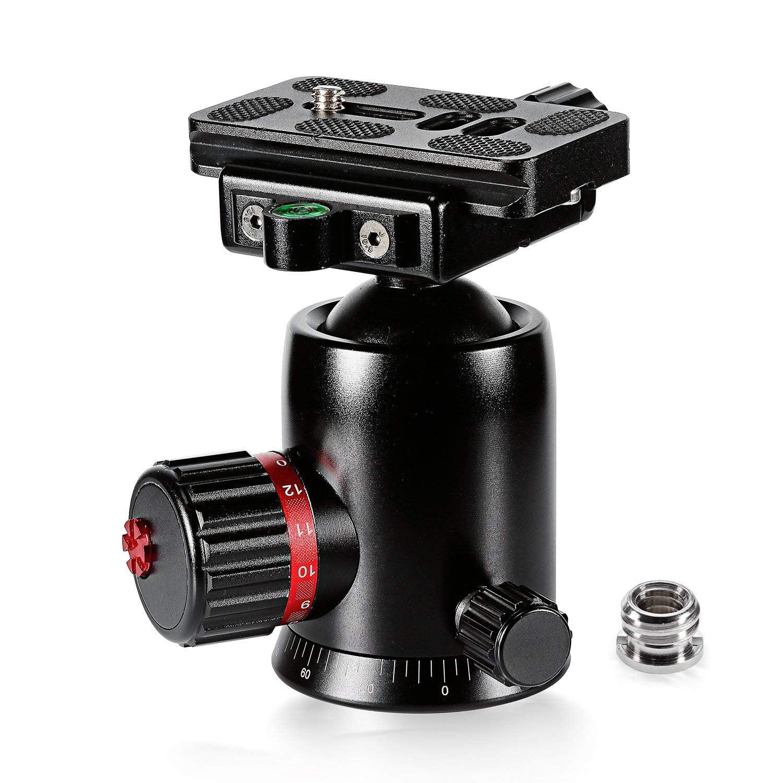 Xdashou Camera Stand Aluminum Alloy 360 Degree Rotation Panorama Ball Head with Speedy Release Plate for Camera Tripod Head