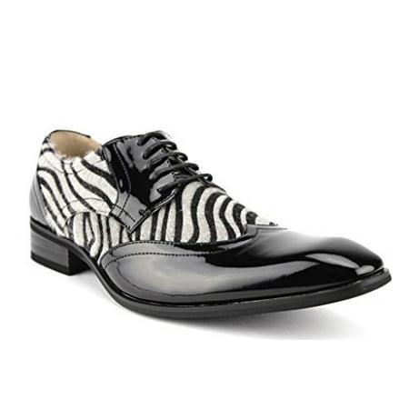2a4098c0a797 J'aime Aldo - Majestic Men's 99521 Patent Wing Tip Faux Pony Hair Zebra  Print Oxford Dress Shoes - Walmart.com