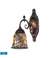 Wall Sconces 1 Light LED With Tiffany Bronze Finish 12 Glass 5 inch 13.5 Watts - World of Lamp