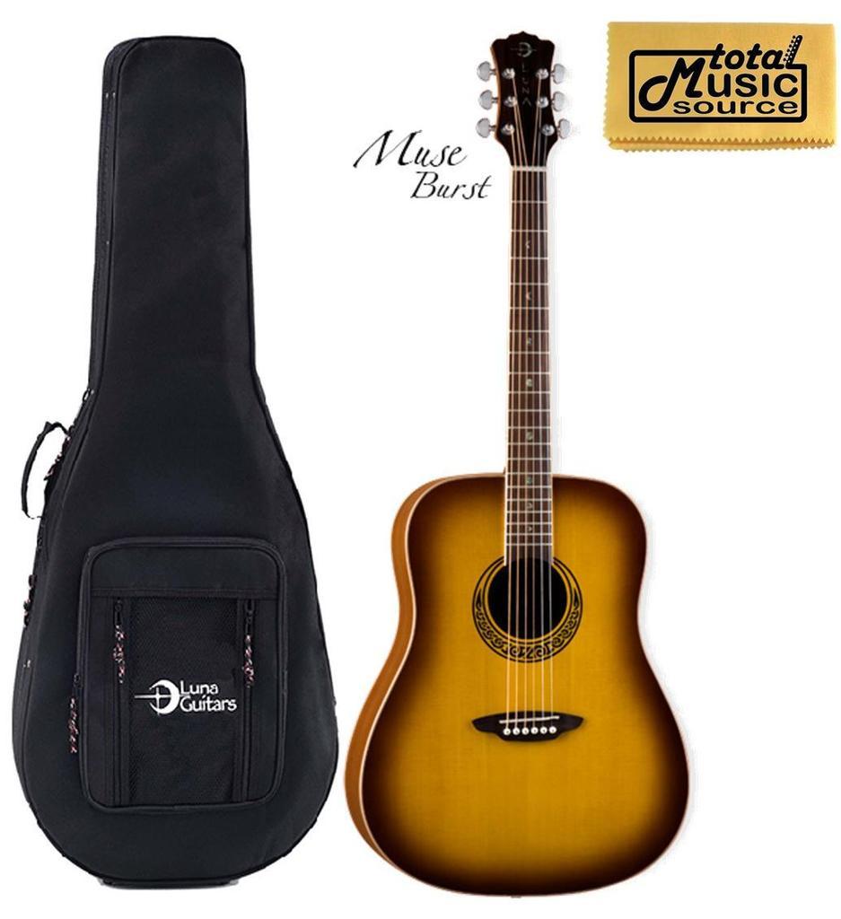 Luna Muse Satin Burst Dreadnought Acoustic Guitar, Includes Case, MUS DN M BURST LL DG
