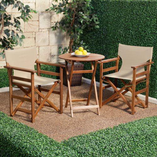Outdoor Directors Chair Wood Bistro Set - Khaki
