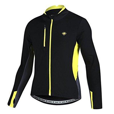 santic men's cycling jacket fleece thermal winter bicycle jersey yellow large by