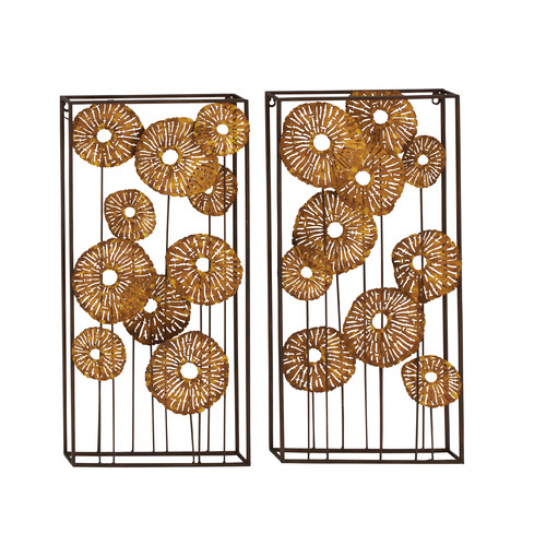 Woodland Imports 2 Piece Classy Metal Wall D cor Set by Benzara Inc