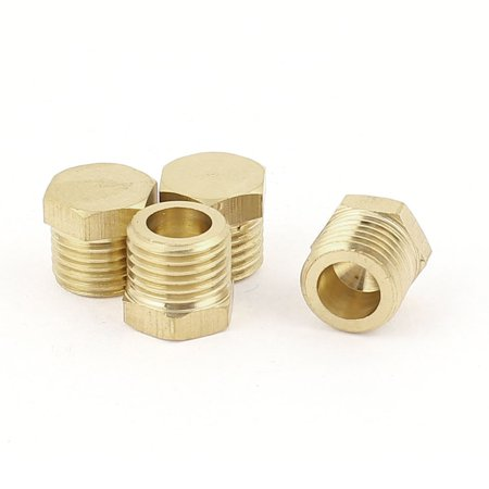 1/4BSP Male Thread Copper Hex Head Pipe Plug Connector Coupling Adapter 4Pcs
