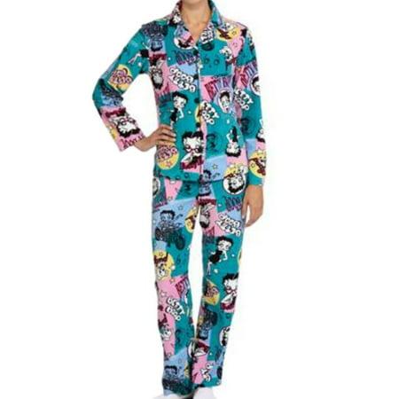 womens betty boop pajamas blue fleece pajama set xl